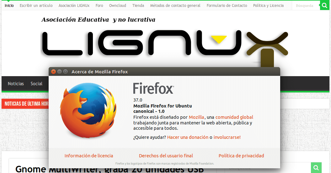 Firefox 37 - LiGNUx