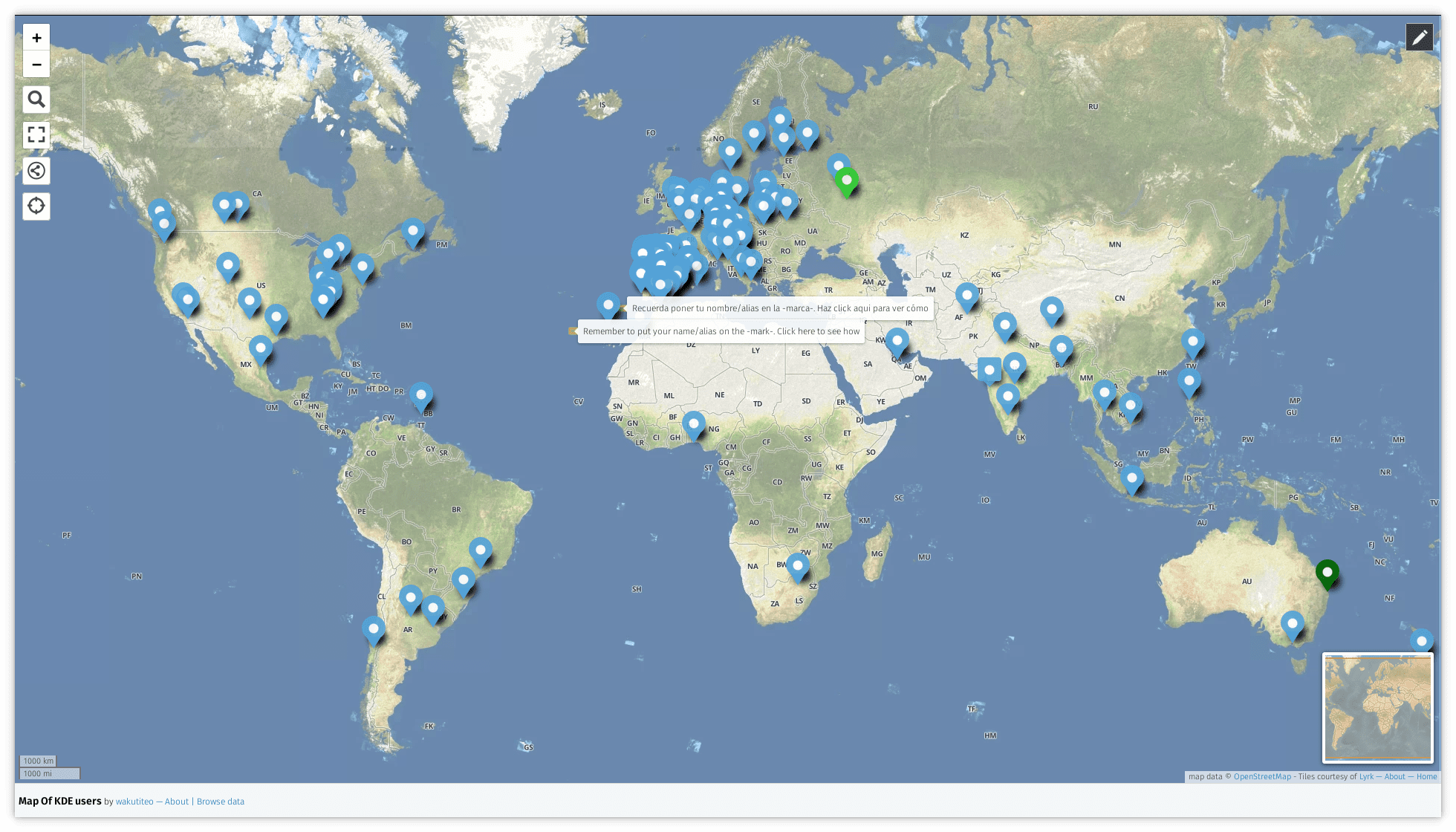 Map of KDE users with uMap and OSM