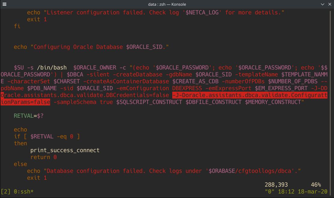 Configuración de parámetros Oracle Database 18c