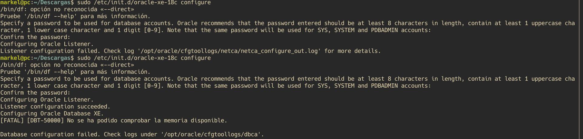 Error al ejecutar la configuración de Oracle Database 18c