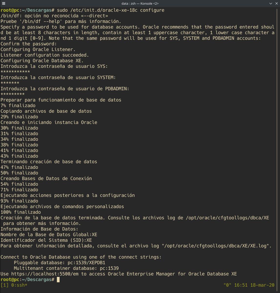 Ejecución correcta de Oracle Database 18c