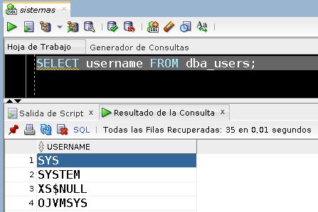 Comprobación funcionamiento Oracla Database 18c